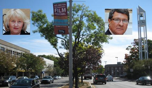 Film festyival flag hangs over Mass. Ave. in the Center; so do the festival founders.