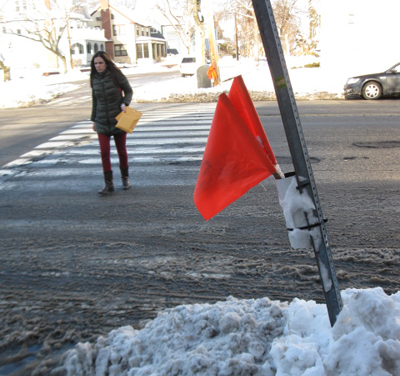 A pedestrian crosses Mass. Ave. safely at Orvis Road in February. Flags offer mute testimony.