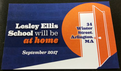 Card saying Lesley Ellis will be at 34 Winter St. in 2017.