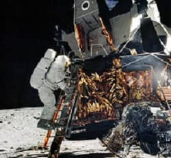 Astronaut descends from lunar module